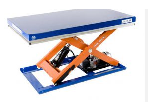 One of the LLM scissor lift tables in blue and orange