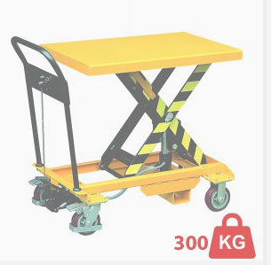 One of LLM Handling's light duty scissor lift platforms in yellow and black.